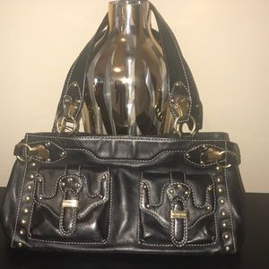 Marc Jacobs black leather handbag w/gold hardware